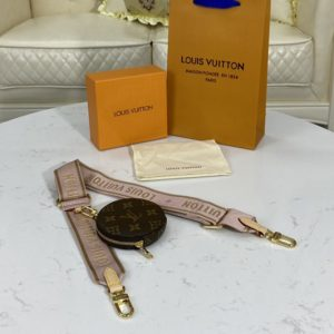 Replica Louis Vuitton J02485 LV bandouliere Jacquard Strap in Pink Nylon and Monogram coated canvas