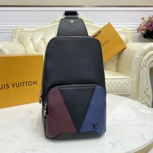 Replica Louis Vuitton M30701 LV Avenue Sling Bag In Burgundy, black and navy blue Taiga leather