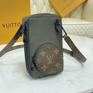 Replica Louis Vuitton M30581 LV Phone Box Bag In Khaki Green Taiga embossed cowhide leather