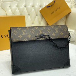 Replica Louis Vuitton M30583 LV Pochette Voyage Steamer Bag in Black Taiga leather