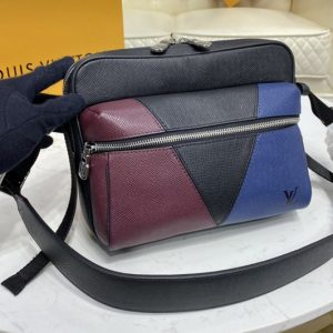 Replica Louis Vuitton M30703 LV Outdoor Messenger Bag in Burgundy, black and navy blue Taiga leather