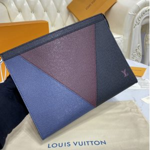 Replica Louis Vuitton M30718 LV Pochette Voyage MM in Burgundy, black and navy blue Taiga leather
