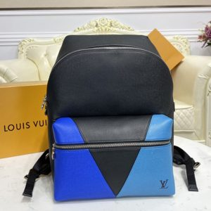 Replica Louis Vuitton M30735 LV Discovery backpack in Blue monochrome Taiga leather