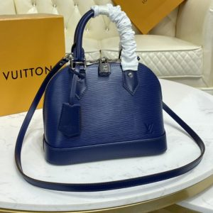 Replica Louis Vuitton M40855 LV Alma BB handbag in Indigo Blue Leather