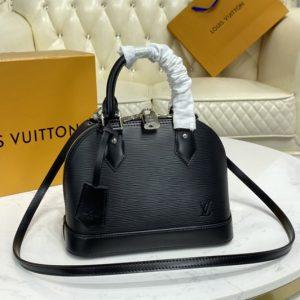 Replica Louis Vuitton M40862 LV Alma BB handbag in Black Epi Leather