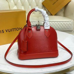 Replica Louis Vuitton M41160 LV Alma BB handbag in Coquelicot Red Epi Leather