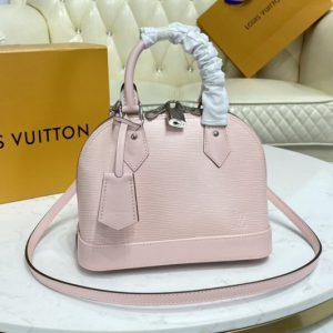 Replica Louis Vuitton M41327 LV Alma BB handbag in Black Rose Ballerine Pink Leather