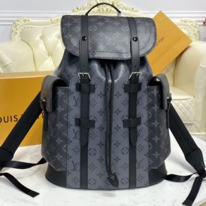 Replica Louis Vuitton M45419 LV Christopher PM backpack in masculine Monogram Eclipse canvas and Monogram Eclipse Reverse canvas
