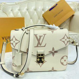 Replica Louis Vuitton M45596 LV Pochette Metis Bag in Bicolor Monogram Empreinte Leather