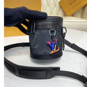 Replica Louis Vuitton M45604 LV Expandable Polochon pouch in Monogram 3D Gray and Black/Rainbow