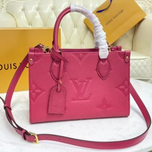 Replica Louis Vuitton M45660 LV OnTheGo PM tote Bag in Freesia Pink Monogram Empreinte leather