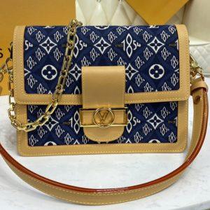Replica Louis Vuitton M57211 LV Dauphine MM handbag In Gray Jacquard Since 1854 textile