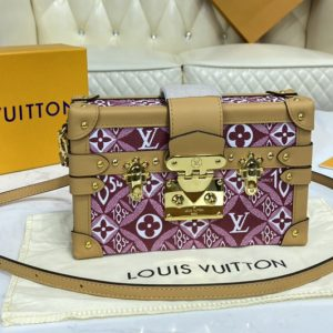 Replica Louis Vuitton M57212 LV Since 1854 Petite Malle handbag in Red Jacquard Since 1854 textile