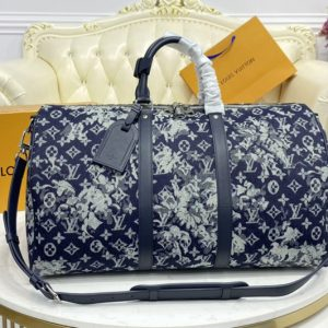Replica Louis Vuitton M57285 LV Keepall Bandoulière 50 Bag in Monogram Tapestry coated canvas