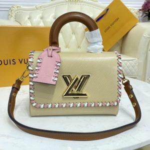 Replica Louis Vuitton M57318 LV Twist MM handbag In Beige Epi Leather