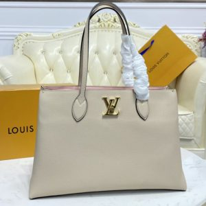 Replica Louis Vuitton M57346 LV Lockme Shopper handbag In Greige Grained calf leather