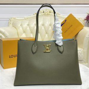 Replica Louis Vuitton M57508 LV Lockme Shopper handbag In Khaki Green Grained calf leather