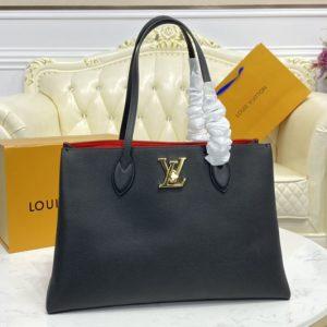 Replica Louis Vuitton M57345 LV Lockme Shopper handbag In Black Grained calf leather