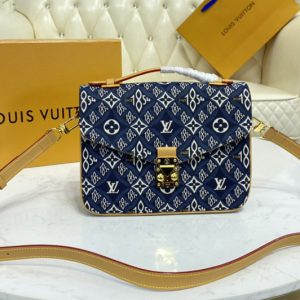 Replica Louis Vuitton M57395 LV Pochette Métis handbag in Blue Jacquard Since 1854 textile