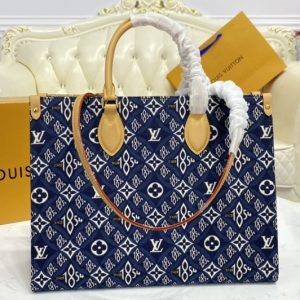 Replica Louis Vuitton M57396 LV OnTheGo GM tote bag in Blue Jacquard Since 1854 textile