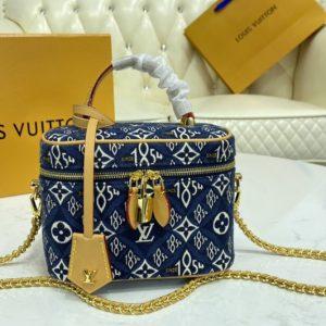 Replica Louis Vuitton M57403 LV Since 1854 Vanity PM handbag in Blue Jacquard Since 1854 textile