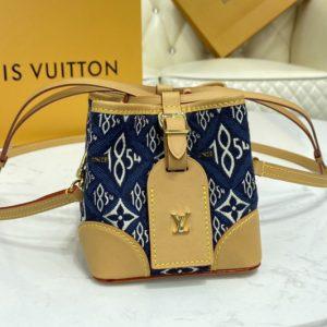 Replica Louis Vuitton M57447 LV Noé Purse bag in Blue Jacquard Since 1854 textile
