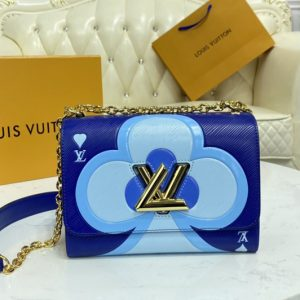 Replica Louis Vuitton M57460 LV Game On Twist PM chain handbag in Blue Transformed epi leather