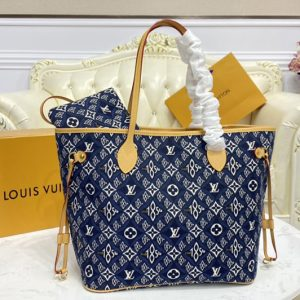 Replica Louis Vuitton M57484 LV Neverfull MM tote Bag in Blue Jacquard Since 1854 textile