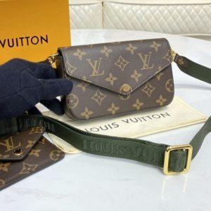 Replica Louis Vuitton M80091 LV Pochette Felicie in Monogram canvas With Green Strap