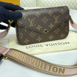 Replica Louis Vuitton M80091 LV Pochette Felicie in Monogram canvas With Pink Strap
