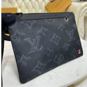 Replica Louis Vuitton M80142 LV 2054 Reversible Pouch in Monogram 3D Gray and Black/Green
