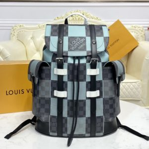 Replica Louis Vuitton N40400 LV Christopher backpack in White Damier Graphite Giant coated canvas
