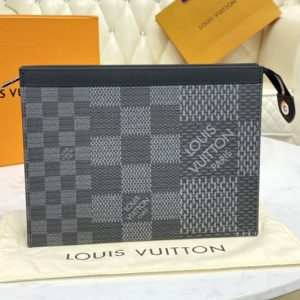 Replica Louis Vuitton N60444 LV Pochette Voyage in Gray Damier Graphite 3D coated canvas