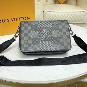 Replica Louis Vuitton N50013 LV Studio Messenger Bag in Gray Damier Graphite 3D coated canvas