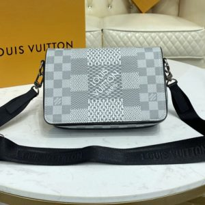 Replica Louis Vuitton N50013 LV Studio Messenger Bag in White Damier Graphite 3D coated canvas