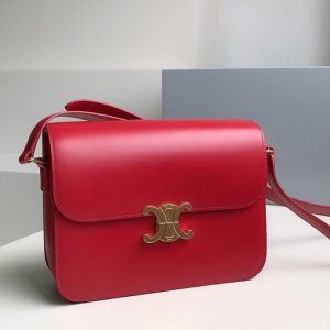 Replica Celine 187353 large triomphe bag in Red shiny calfskin