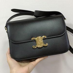 Replica Celine 187363 medium triomphe bag in Black shiny calfskin