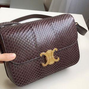 Replica Celine 187363 medium triomphe bag in brown watersnake Leather