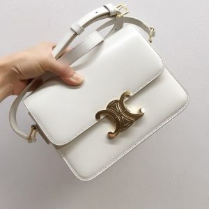 Replica Celine 188423 Teen triomphe bag in White shiny calfskin