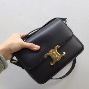 Replica Celine 188423 Teen triomphe bag in Black shiny calfskin