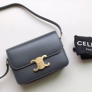 Replica Celine 188423 Teen triomphe bag in Blue shiny calfskin