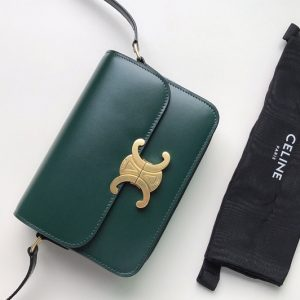 Replica Celine 188423 Teen triomphe bag in Green shiny calfskin