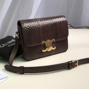 Replica Celine 188424 Teen triomphe bag in brown watersnake Leather