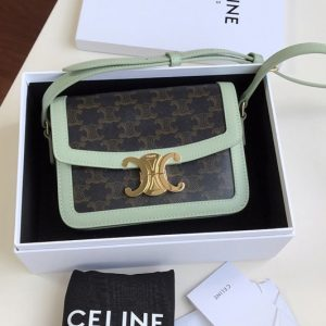 Replica Celine 188882 Teen Triomphe Bag in Triomphe Canvas and Calfskin Green
