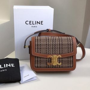 Replica Celine 188882 Teen Triomphe Bag in Triomphe Textile and Calfskin Brown/Tan