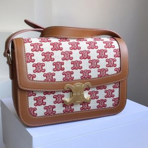 Replica Celine 188882 Teen Triomphe Bag in Textile with Triomphe Embroidery and Calfskin Vintage Pink