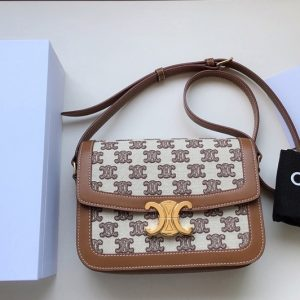Replica Celine 188882 Teen Triomphe Bag in Textile with Triomphe Embroidery and Calfskin Vintage Brown