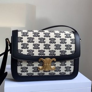 Replica Celine 188882 Teen Triomphe Bag in Textile with Triomphe Embroidery and Calfskin Vintage Black