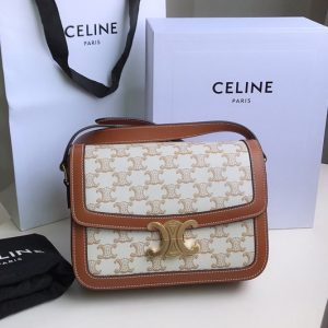 Replica Celine 188882 Teen Triomphe Bag in Triomphe Canvas and Calfskin White