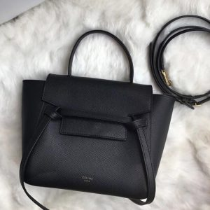 Replica Celine 189003 Nano Belt Bag in Black Grained Calfskin Leather